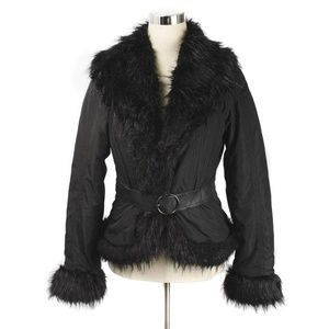 Zara Black Faux Fur Trim Belted Puffer Jacket